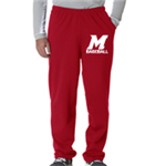 Baseball Red Sweat Pant Open Bottom