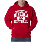 Softball Red Hooded Sweatshirt