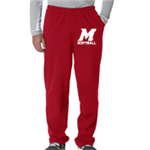 Softball Red Sweat Pant Open Bottom