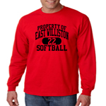 EW Softball Red Long-Sleeve Performance Loose Tee