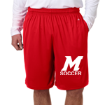 Soccer Red Adult Shorts w/ Pocket